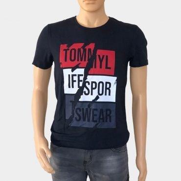 Tommy Life T-Shirt mit Logo-Print in zwei Farben 100% Baumwolle