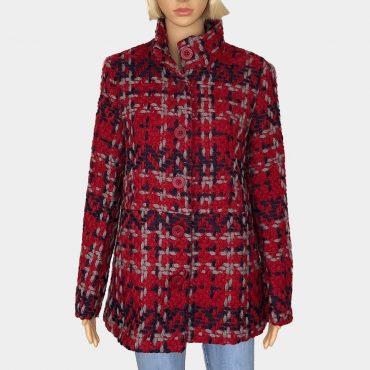 "Desigual Boucle Wintermantel ""Coat"" rot/bordeaux Wolle mix große rote Knöpfe zum Schließen"