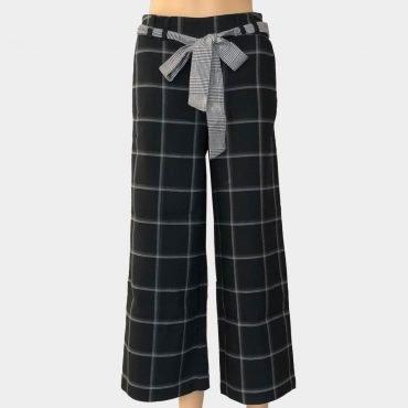 """Elegante Desigual Hose """"Flora"""" business, kariert, weit geschnitten, schräge Taschen, mit Schleife zum binden"""