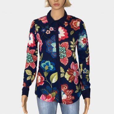 """Desigual Hemdbluse """"Circular"""" blau mit Blumen Muster, Knöpfe zum Schließen, Lange Ärmel"""