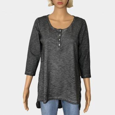 """Desigual Shirt-bluse """" White"""" grau mit Knöpfe am Ausschnitt ,3/4 Ärmel, geometrischem Print"""