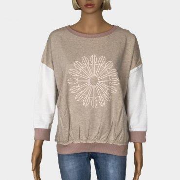 """Desigual Pullover """"Malta"""" beige mit lange Ärmel und großem Mandala-Print"""