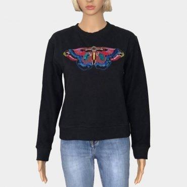 """Desigual Pullover """"Bety"""" schwarz mit Schmetterling Muster aus Pailletten,lange Ärmel"""
