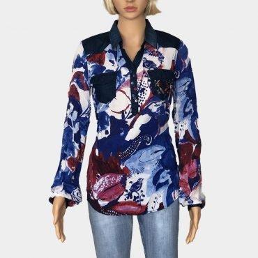 """Schlupfbluse Desigual """"Mila"""" blau mit Blumen Muster, Brusttaschen und bunte Knöpfe, lange Ärmel"""