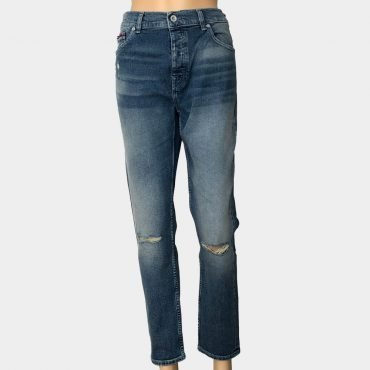 """Tommy Hilfiger Jeans """"Izzy"""" High Rise Slim, gerissen, dunkelblau mit hohem Bund,Bio-Baumwolle"""