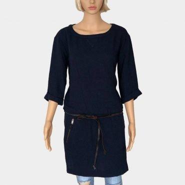 Schönes Kleid von Esprit, dunkelblau, 3/4 Ärmel, mit Gürtel und 2 Seitentaschen mit Reißverschluss zum Schließen,knielag