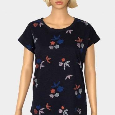 Esprit T-Shirt blau, mit schönem Blumen Häkelei, aus Bio-Baumwolle