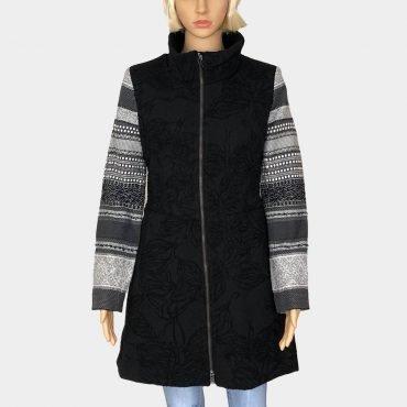 """Eleganter Mantel Desigual""""Moon"""" schwarz/grau mit schönem Stickerei und mit Kontrast-Ärmeln,halblang"""