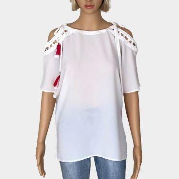 Schöne Comma Bluse, weiß mit geflochtetem Details, Fledermaus-Ärmel,offener Schulter