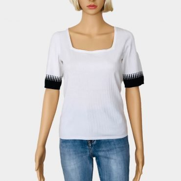 Comma Feinstrick Pullover, schwarz/weiß, kurze Ärmel