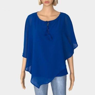 Comma asymmetrische Chiffon-Bluse, blau ärmellos,mit Schleife zum binden