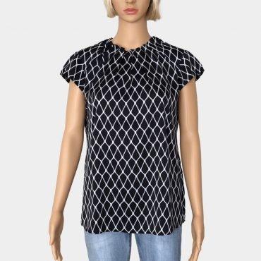 Elegante Comma Bluse schwarz/weiß mit Kappärmel und Rüschenkragen