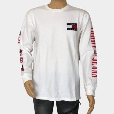 Tommy Hilfiger Langarmshirt, weiß mit großem Logo-Print, Tommy Flaggen an den Ärmeln