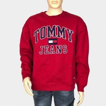 Tommy Hilfiger Sweatshirt, Pullover, rot mit großem Tommy Jeans Schrift bestickt, Bio-Baumwolle