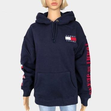 Tommy Hilfiger Kapuzen Sweatshirt,Oversized,blau mit großem Logo-Print, Tommy Flaggen an den Ärmeln