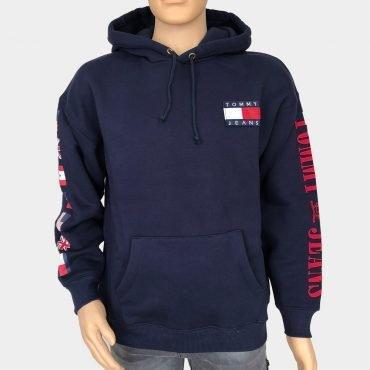 Tommy Hilfiger Kapuzen Sweatshirt, blau mit großem Logo-Print, Tommy Flaggen an den Ärmeln