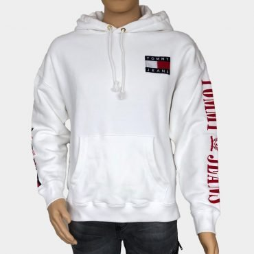 Tommy Hilfiger Kapuzen Sweatshirt, weiß mit großem Logo-Print, Tommy Flaggen an den Ärmeln