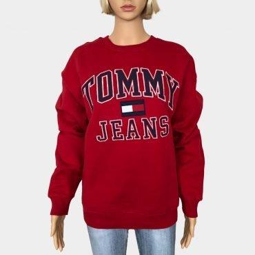 Tommy Hilfiger Sweatshirt, Oversized rot mit großem Tommy Jeans Schrift bestickt, Bio-Baumwolle