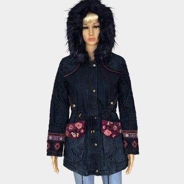 "Desigual Winterjacke ""Natasha"" in Jeans Optik, Kapuze mit abnehmbarem Kunstpelz, gehäkelt"