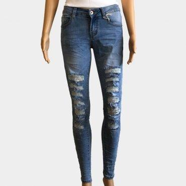 POP Damen Skinny Jeans blau mit Rissen,Löcher hoher Taille