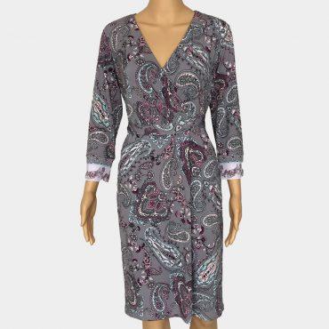 Comma Jersey-Kleid lila mit All-Over Print Bindegürtel 3/4 Ärmel