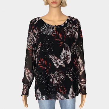 Elegante Comma Bluse schwarz mit Blätter-Muster und V-Ausschnitt