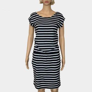 Comma Sommerkleid schwarz-weiß gestreift V-Ausschnitt