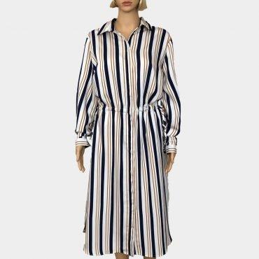 S.Oliver gestreiftes Maxi-Kleid Übergröße lange Ärmel und Knöpfe zum Schließen