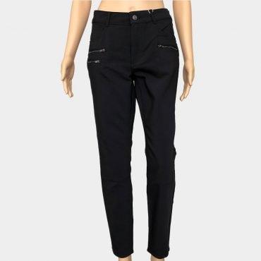 Comma lange Hose schwarz mit Reißverschluss-Details, leicht glänzend