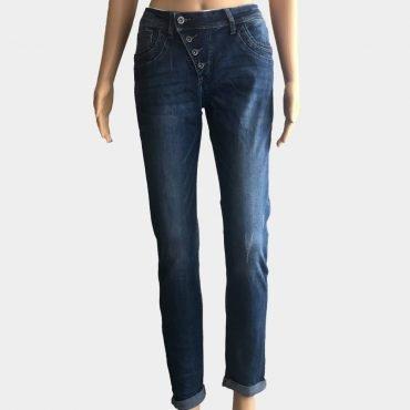 YesPink Damen Jeans Übergröße blau, Slim Fit mit schräge Knopfleiste