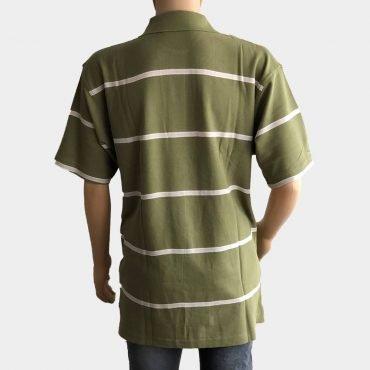 "Poloshirt ""Novelle"" für Herren grün kurze Ärmel gestreift aus 100% Baumwolle"