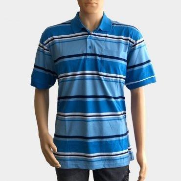 """Poloshirt """"Novelle"""" für Herren blau kurze Ärmel gestreift aus 100% Baumwolle"""