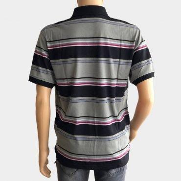 """Poloshirt """"Novelle"""" für Herren grau/schwarz kurze Ärmel gestreift aus 100% Baumwolle"""