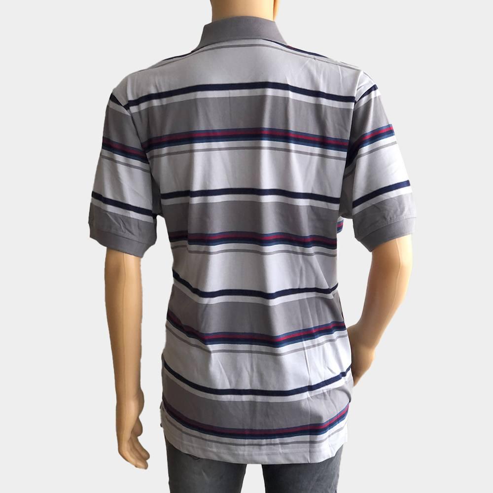 "Poloshirt ""Novelle"" für Herren grau kurze Ärmel gestreift aus 100% Baumwolle"