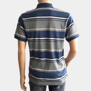 """Poloshirt """"Novelle"""" für Herren grau/blau kurze Ärmel gestreift 100% Baumwolle"""