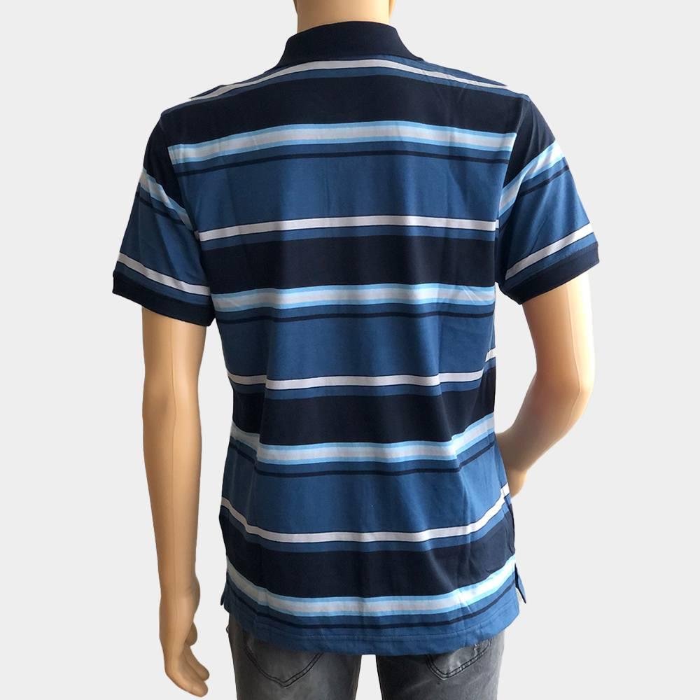 """Poloshirt """"Novelle"""" für Herren blau kurze Ärmel gestreift 100% Baumwolle"""