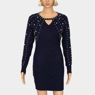 Feinstrick Kleid mit schönen Perlen lange Ärmel Figurbetont