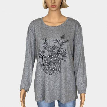 Langarm Bluse Damen Übergröße mit Strass-Steinen in Pfau-Form
