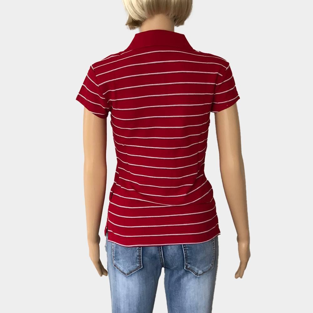 """Poloshirt """"Novelle"""" für Damen orange kurze Ärmel gestreift 100% Baumwolle"""