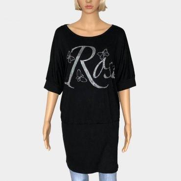 Damen T-Shirt Kleid Übergröße mit modischen Strass Steinen