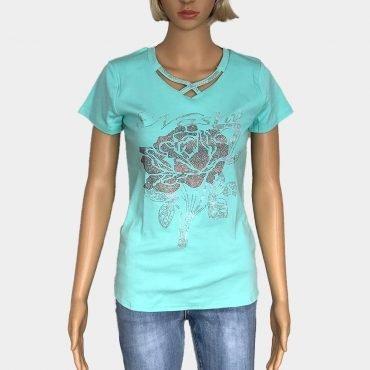 T-Shirt Damen mit Strass-Steinen und kurze Ärmel Slim Fit