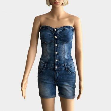 Kurzer ausgestellter Jeans-Jumpsuit Overall für Damen ohne Träger