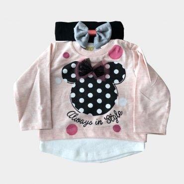 Baby Minnie Maus Set Mädchen Outfit Langarm Pullover und Hose mit Stirnband