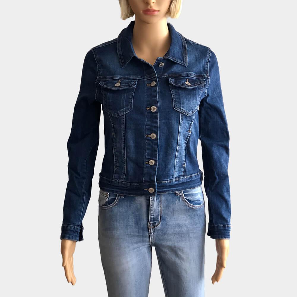 Kurze Jeansjacke Damen Basic dunkelblau stretch Slim Fit