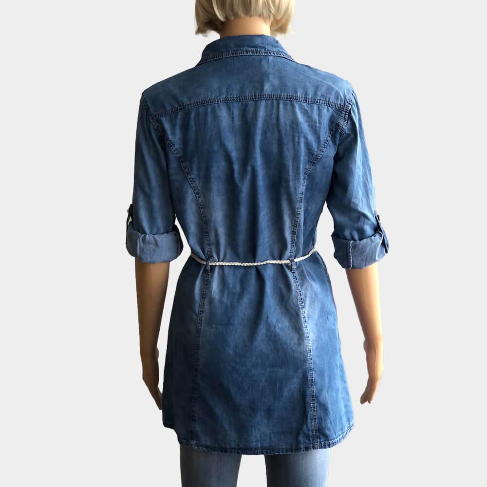 Jeansbluse Gourd Damen Verstellbare Ärmel Langarm Tunika mit Knopfleiste und Schleife