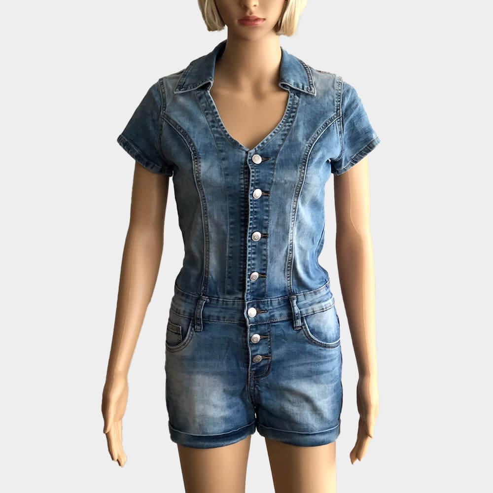 Damen Jeans Overall kurz Jumpsuit Hosenanzug Einteiler